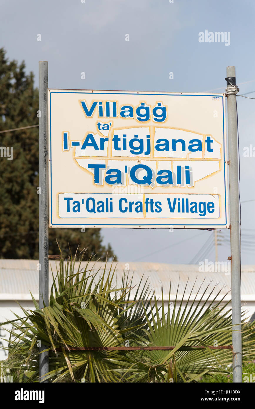 The sign for Craft shops at the artisan village and Ta' Qali Crafts Centre and artisan village Malta - Stock Image