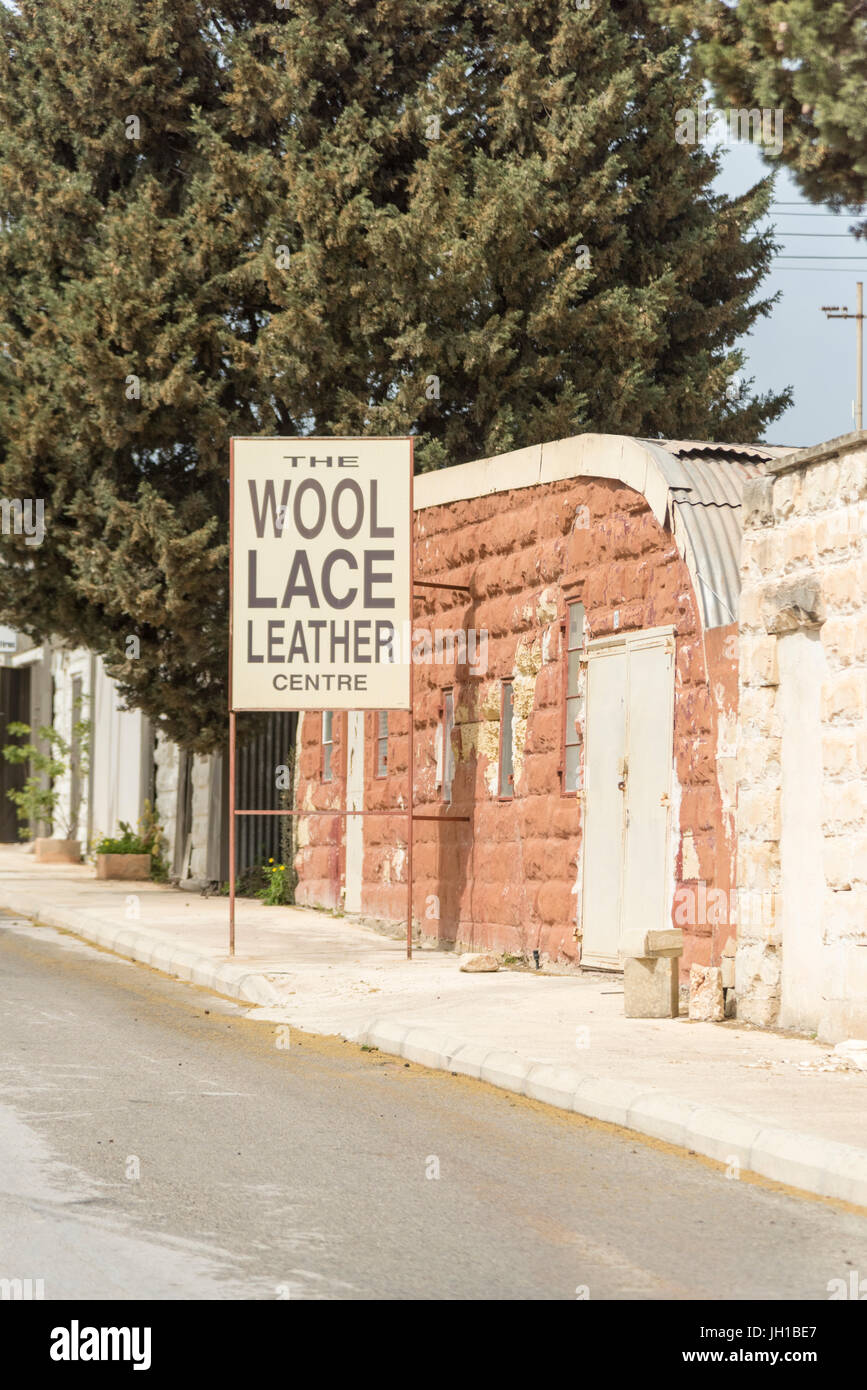 The wool lace and leather shop at the craft shops at the artisan village and Ta' Qali Crafts Centre and artisan - Stock Image