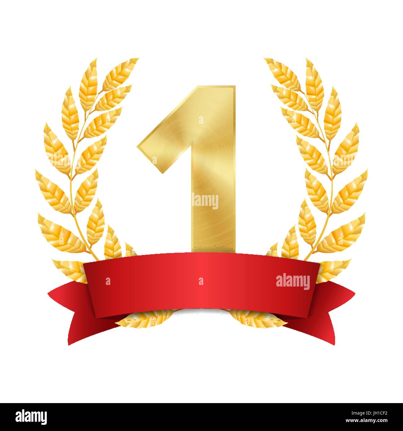 1st Trophy Award Vector. First Golden Placement Achievement. Figure 1 One In A Realistic Gold Laurel Wreath. Red - Stock Vector