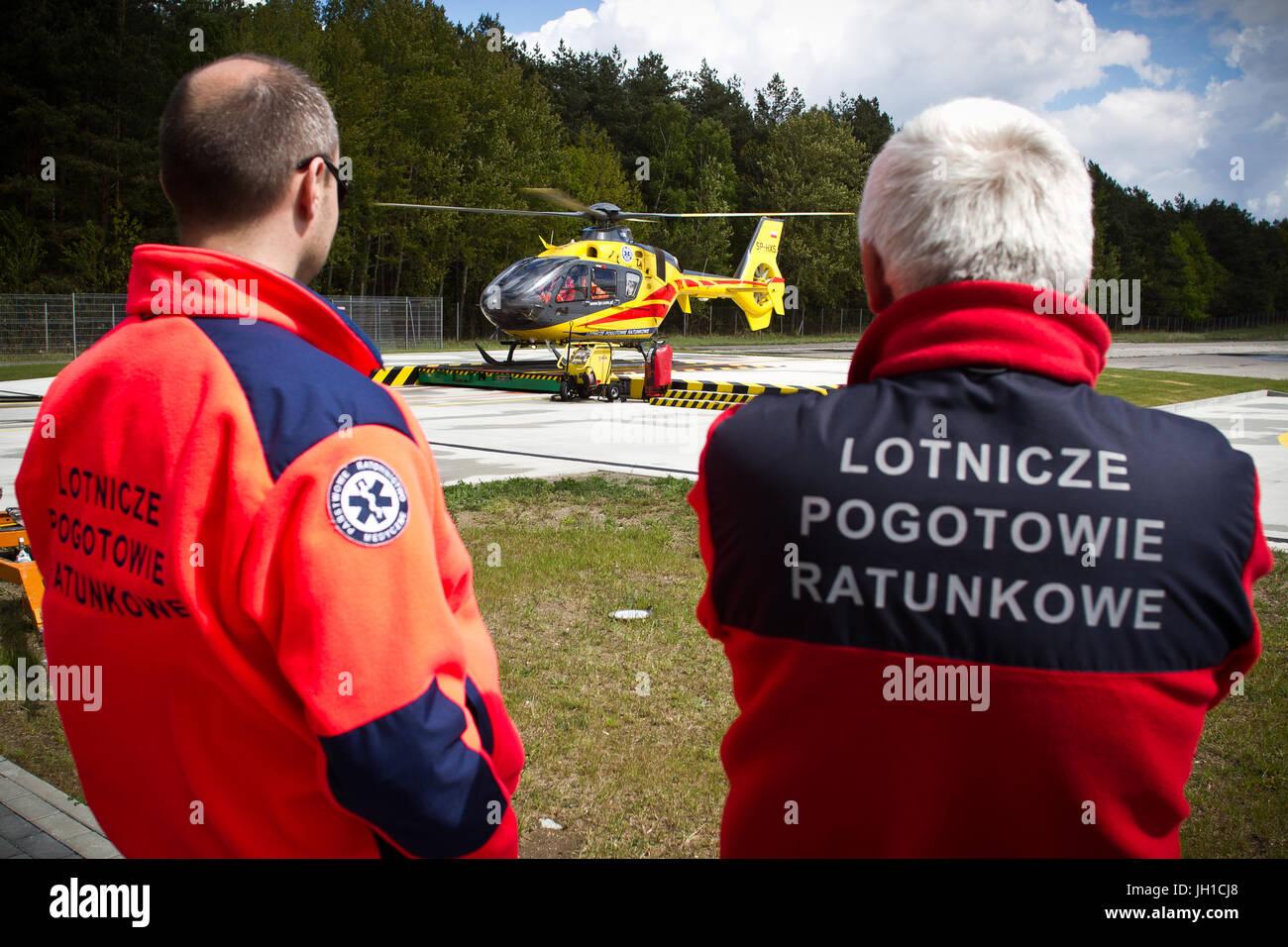 Polish Helicopter Emergency Medical Service (HEMS) Eurocopter 135 at Polsih HEMS base in Gdansk, Poland. Stock Photo