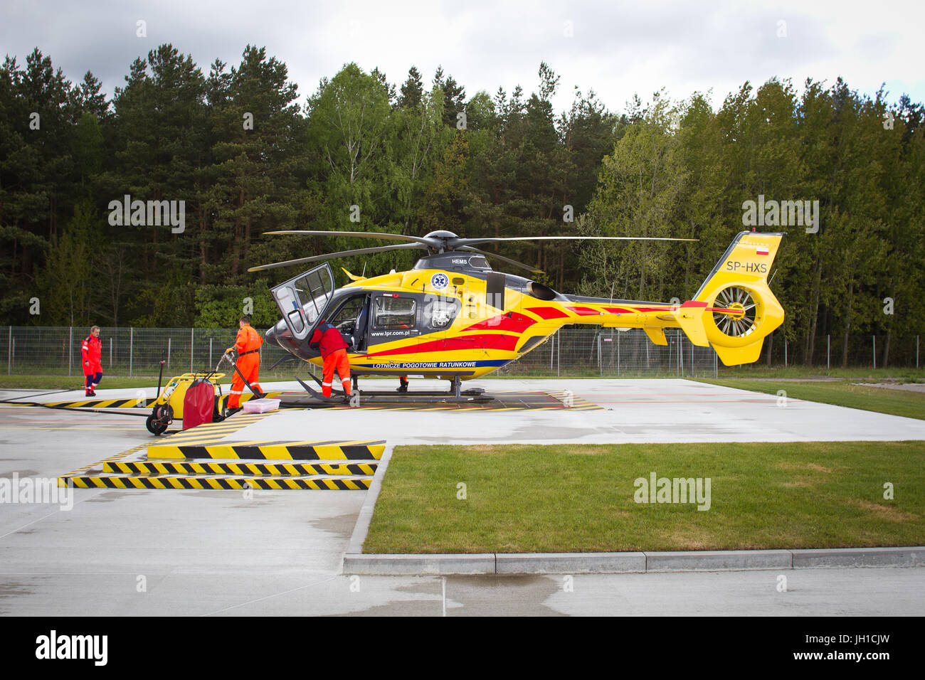 Polish Helicopter Emergency Medical Service (HEMS) Eurocopter 135 at Polsih HEMS base in Gdansk, Poland. Stock Photo