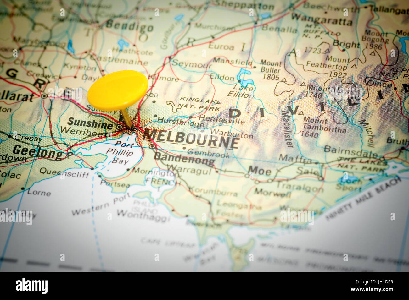 Map Marked With The Location Of Melbourne In Australia Stock Photo