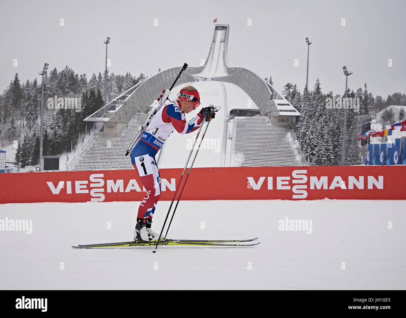Tiril Eckhoff of Norway in the Woman' Relay IBU Biathlon World Championships Oslo Norway 2016 - Stock Image