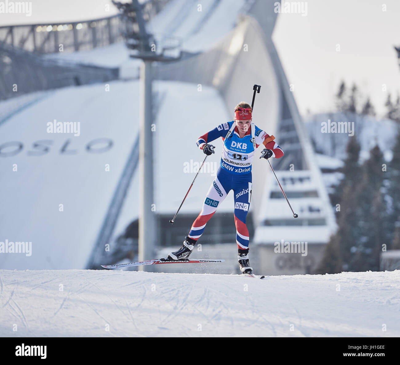 Marte Olsbu of Norway on the last leg of the woman's relay at the IBU Biathlon World Championships Oslo Norway - Stock Image