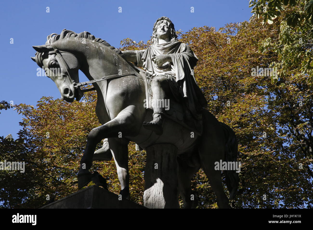 Statue Žquestre du roi Louis XIII place des Vosges. France. Stock Photo