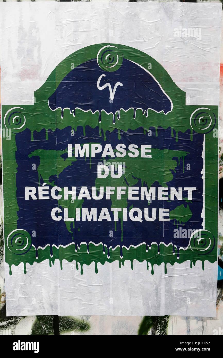 Affiche Žcologiste. Global warming poster. France. - Stock Image
