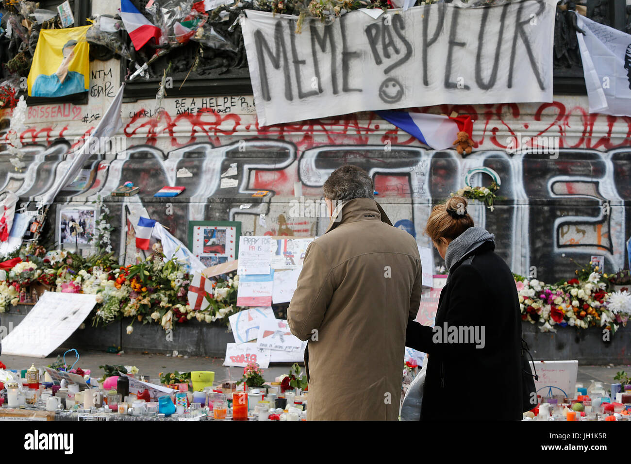 Terrorist attack memorial at Place de la RŽpublique, Paris. France. - Stock Image