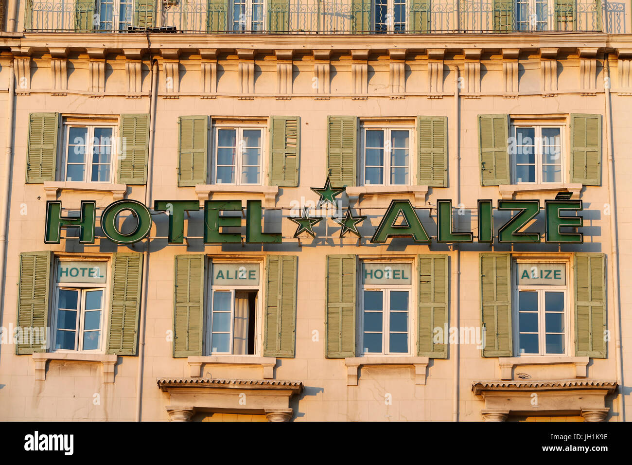 Hotel facing the old Marseille harbour. France. - Stock Image