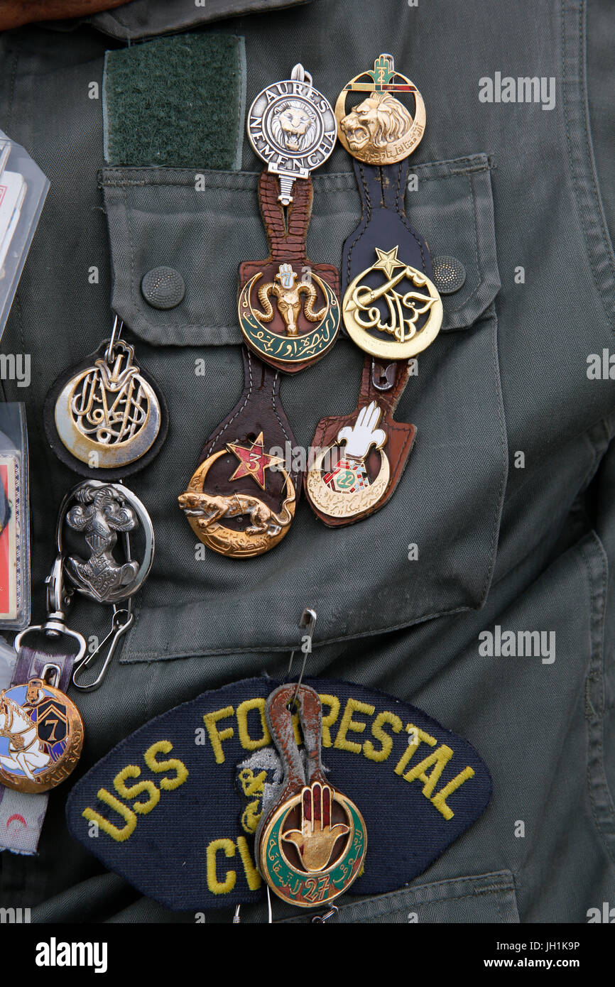 Man wearing a soldier's uniform with medals. France. - Stock Image