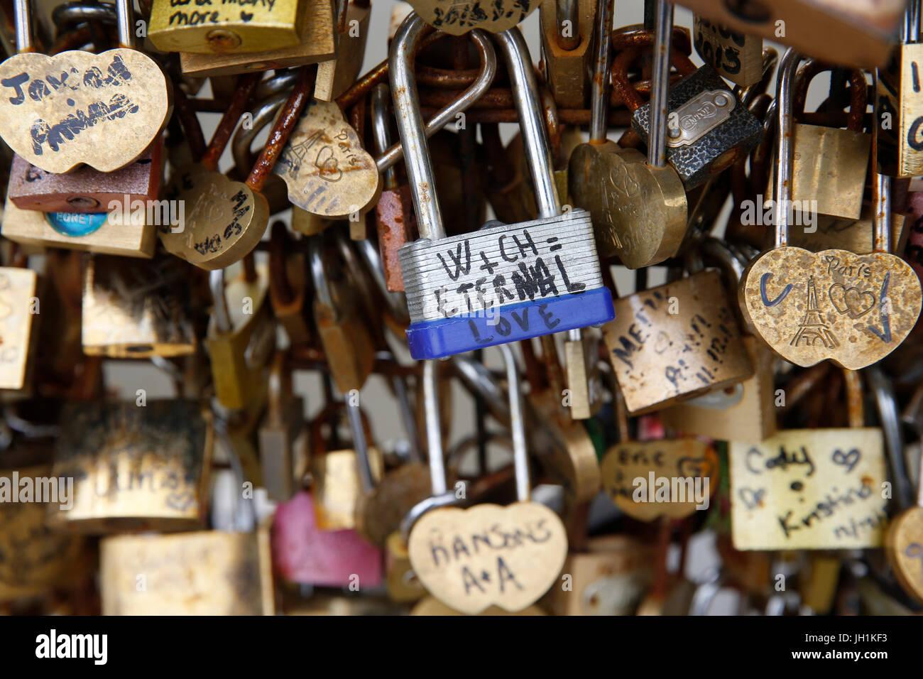 Love padlocks on a bridge over the Seine in Paris. France. - Stock Image