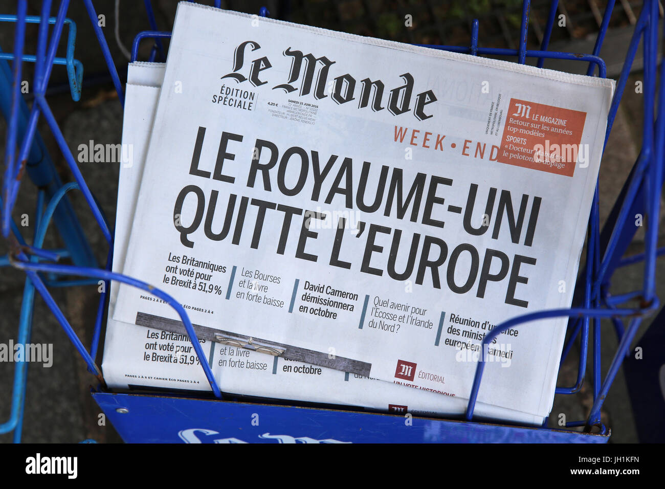 Newspaper headline after Brexit. France. - Stock Image