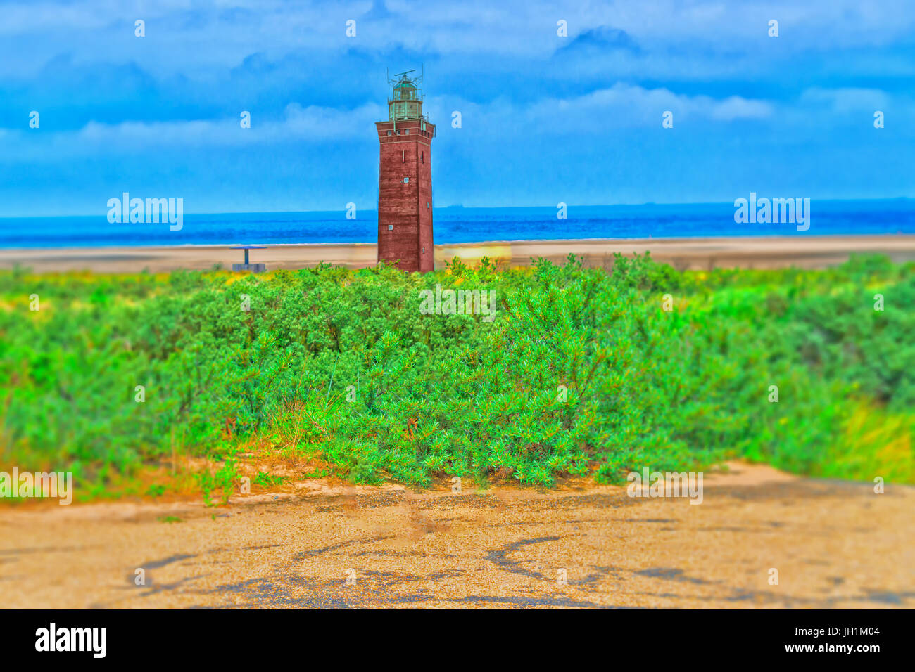 Artistic work by myself. Intentional blur in this design Old postcard. Dune panorama on the North Sea coast in Holland - Stock Image