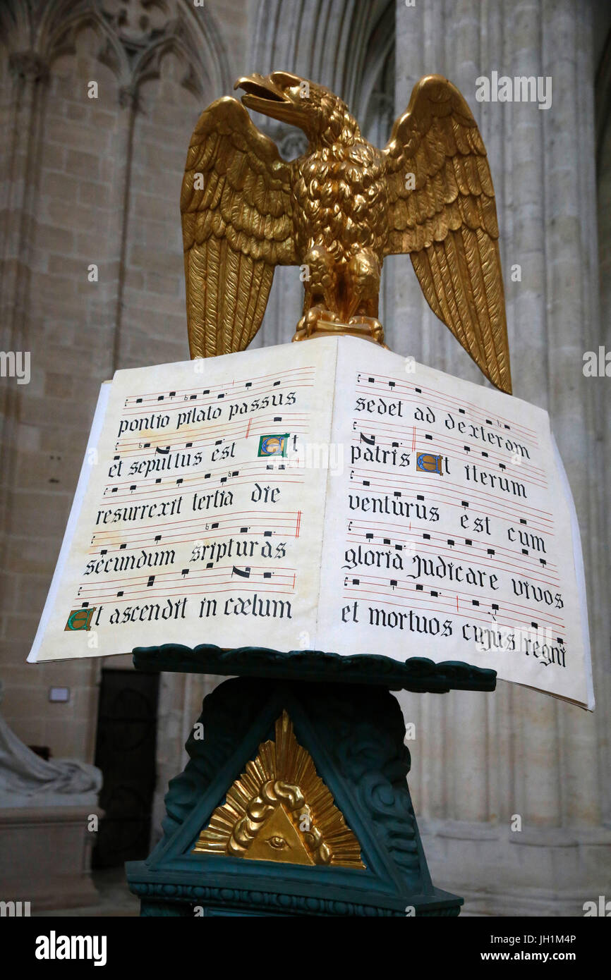 Notre Dame de Sees cathedral. 18th-century lectern. France. - Stock Image