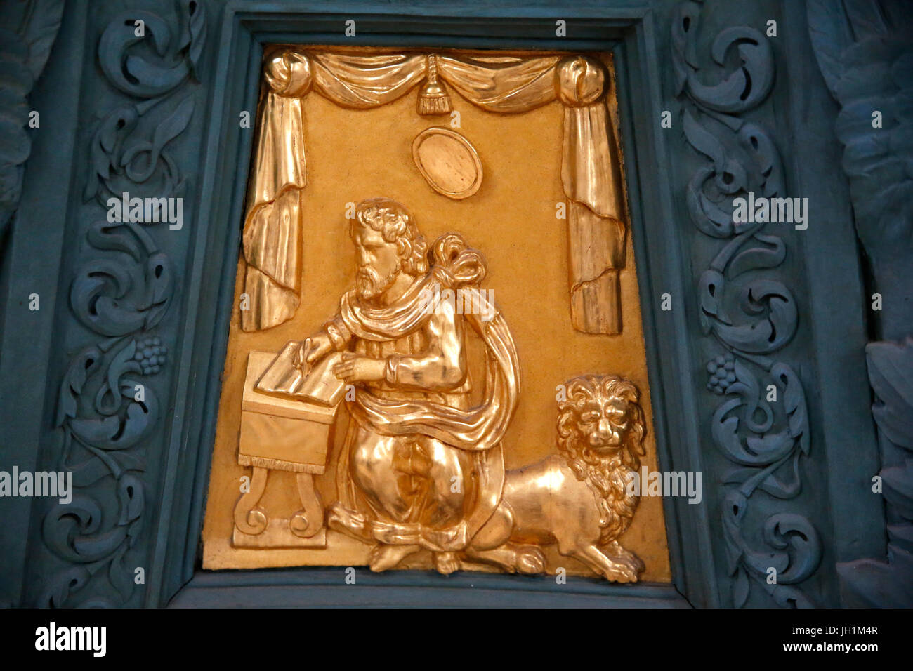 Notre Dame de Sees cathedral. Detail of an 18th-century lectern. Evangelist Saint Mark. France. - Stock Image