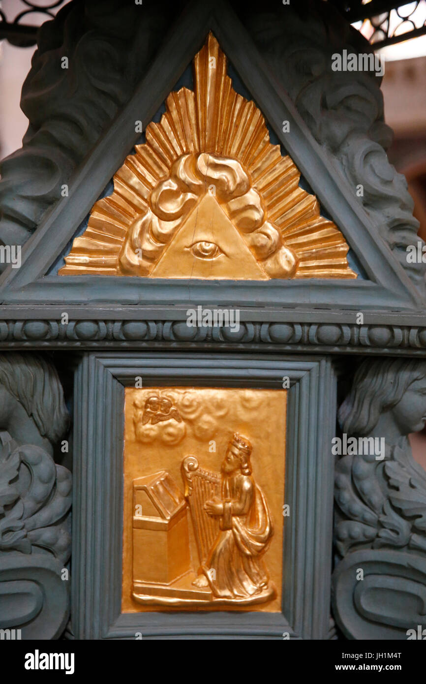 Notre Dame de Sees cathedral. Detail of an 18th-century lectern.  France. - Stock Image
