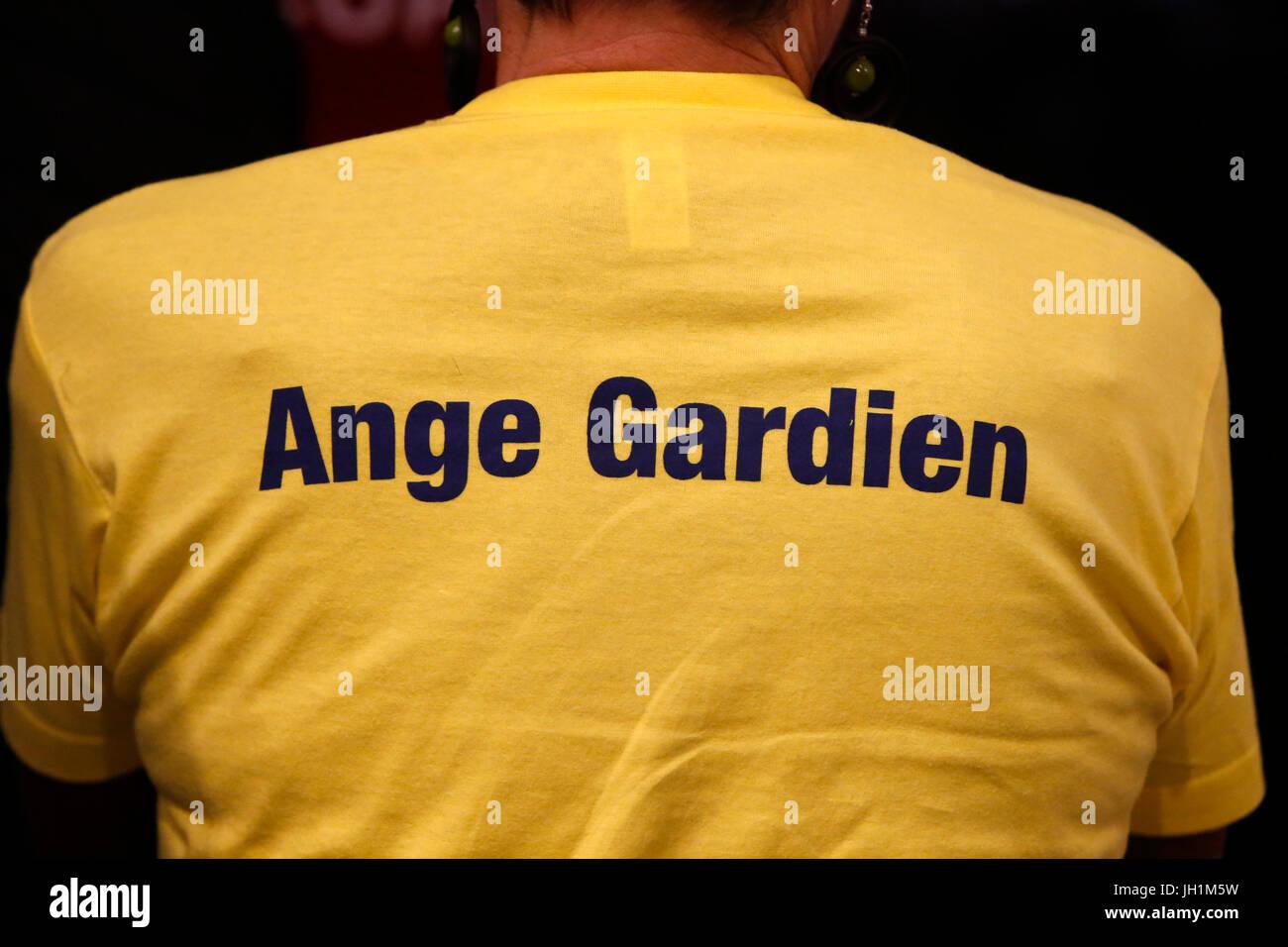 Hopeteen festival, Issy-les-Moulineaux, France. Gardian angel t-shirt. - Stock Image