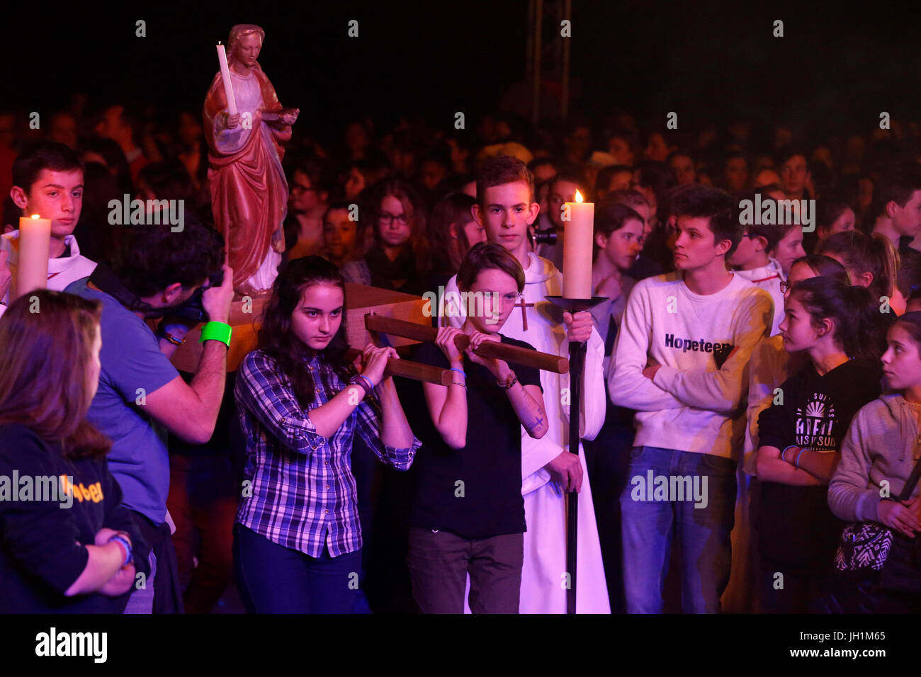 Hopeteen festival, Issy-les-Moulineaux, France. Mass entrance procession. Stock Photo