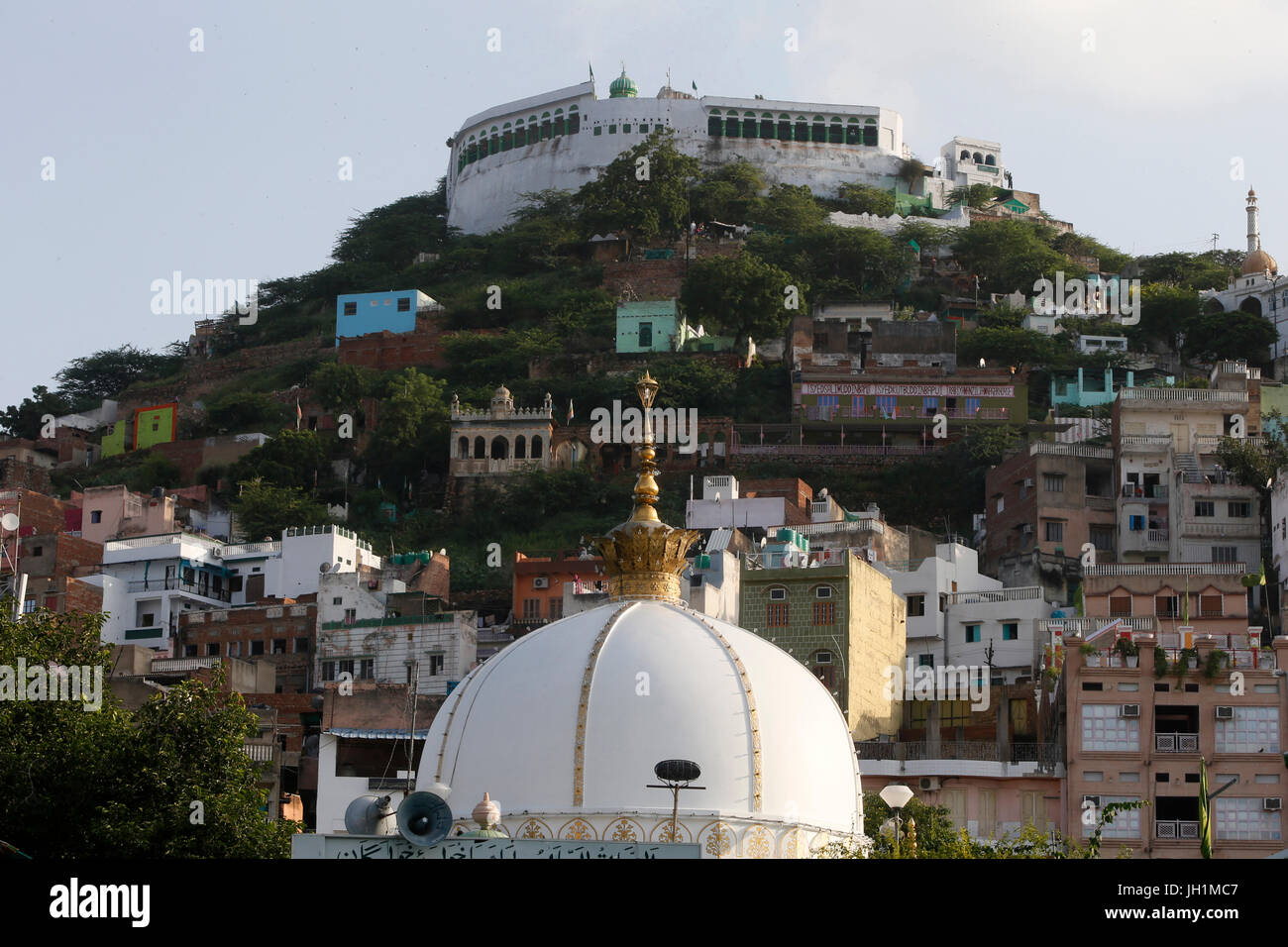 Ajmer Sharif dargah, Rajasthan. Shrine dome and neighboring buildings. India. - Stock Image