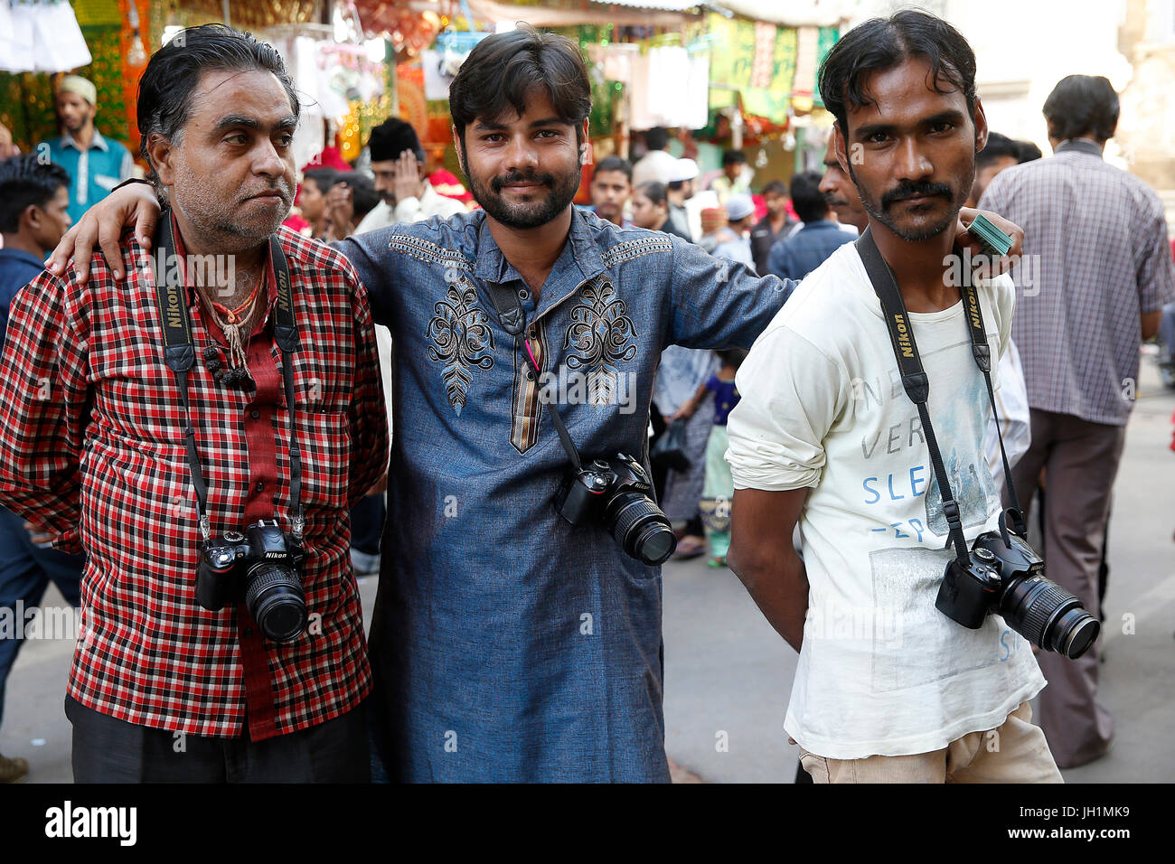 Photographers outside Ajmer Sharif dargah, Rajasthan.  India. - Stock Image