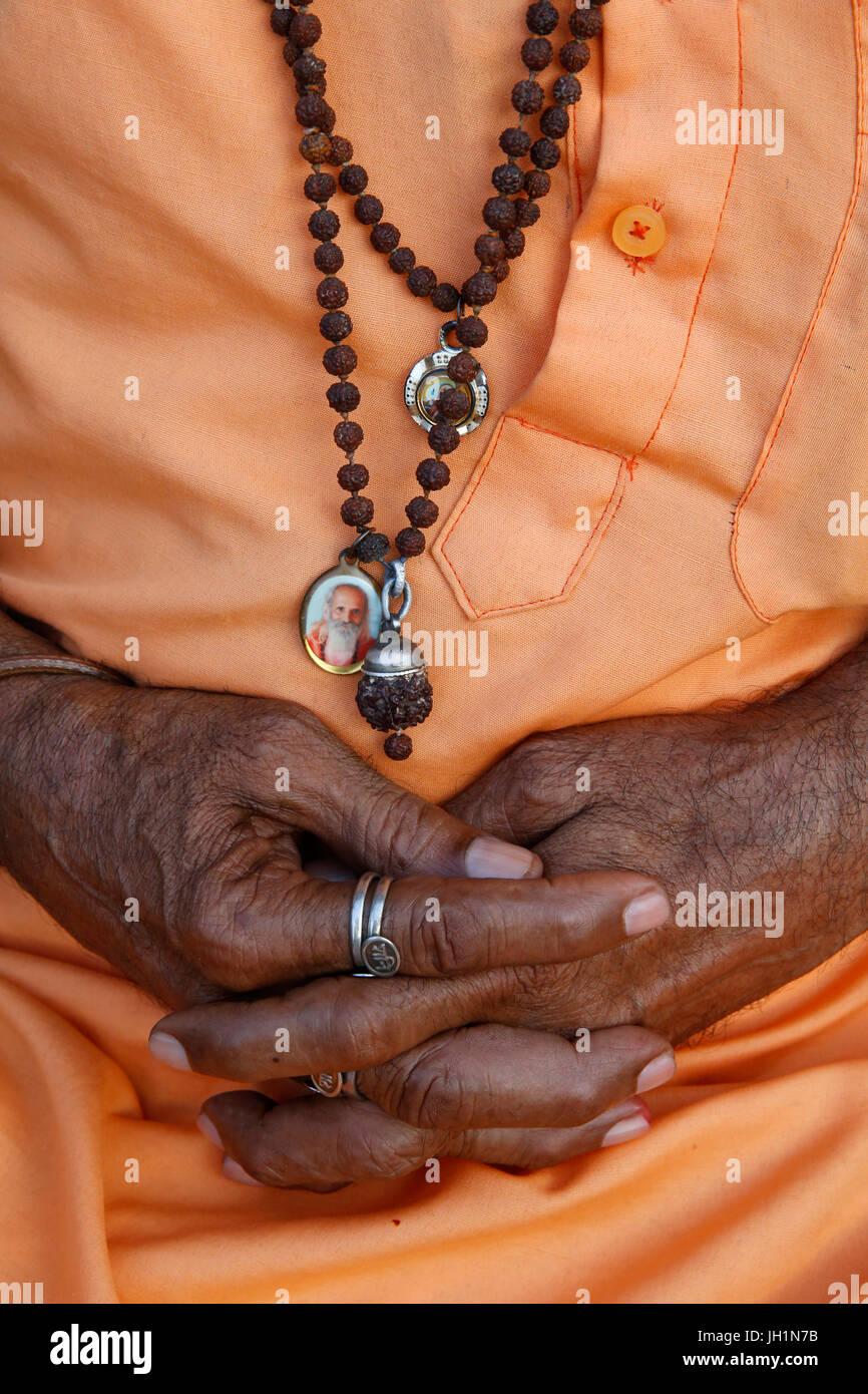 Indian sadhu's hands. India. - Stock Image