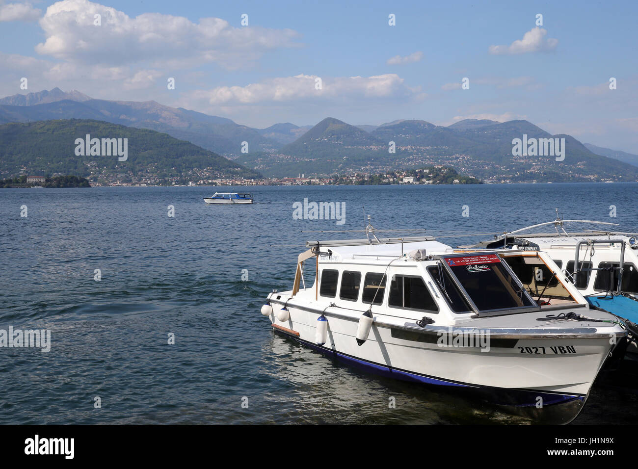 Boats docking on waterfront of Stresa. Italy. - Stock Image