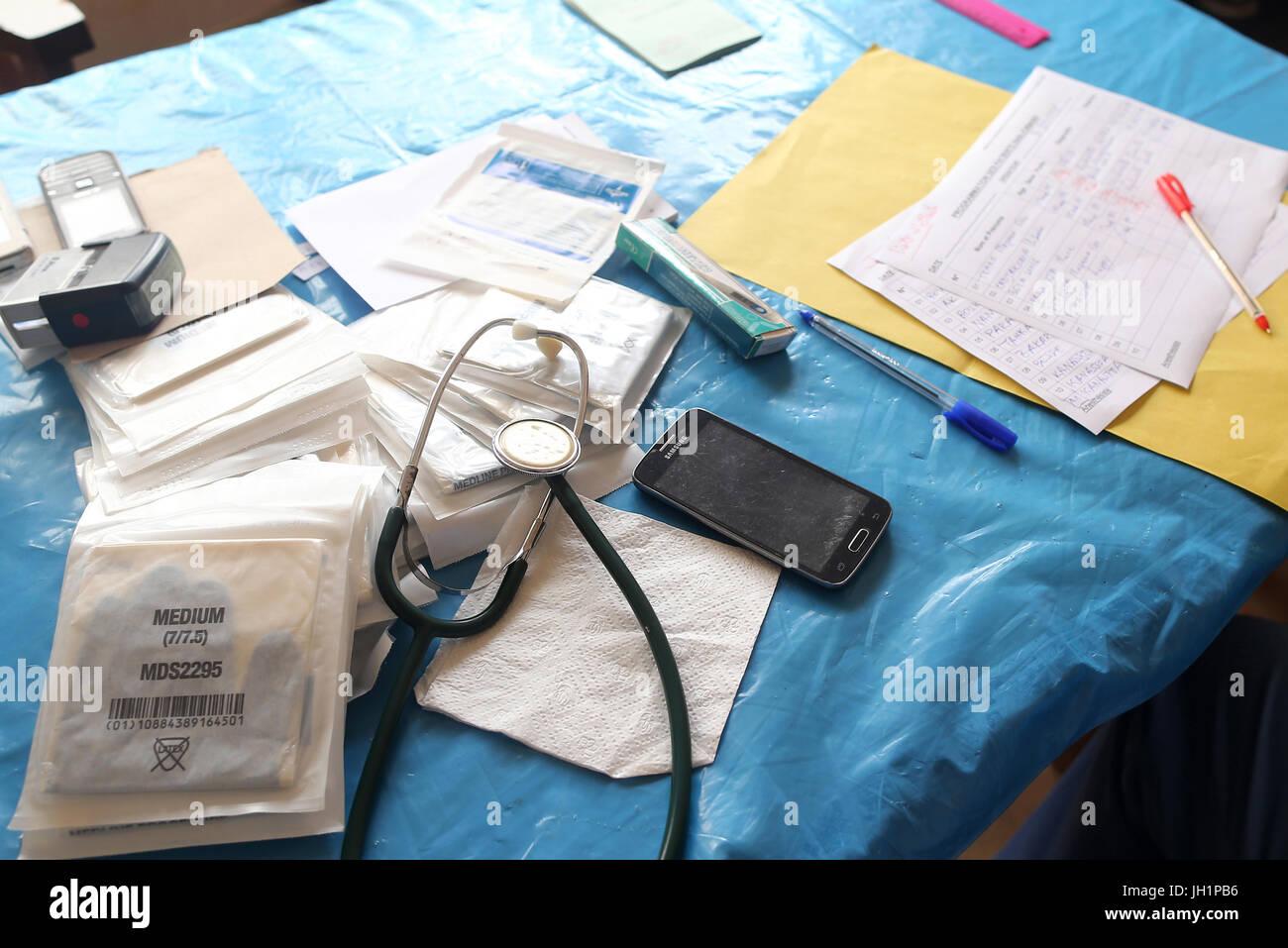 Africa. Sotoboua hospital. Paediatric unit. Medical consultation.  Togo. - Stock Image