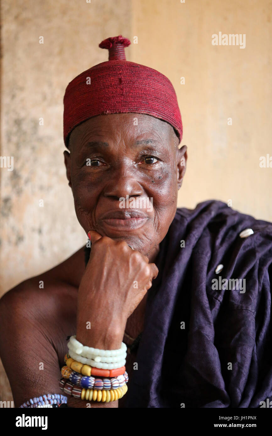 Old voodoo priestess in her convent. Togoville, Togo. - Stock Image