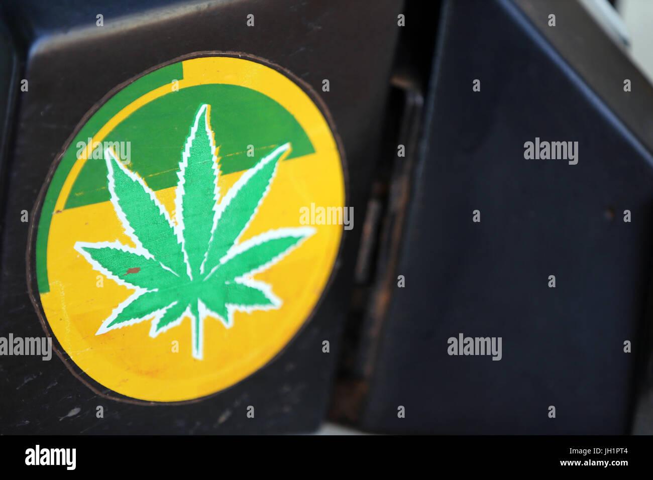 Marijuna sticker.  Togoville. Togo. - Stock Image