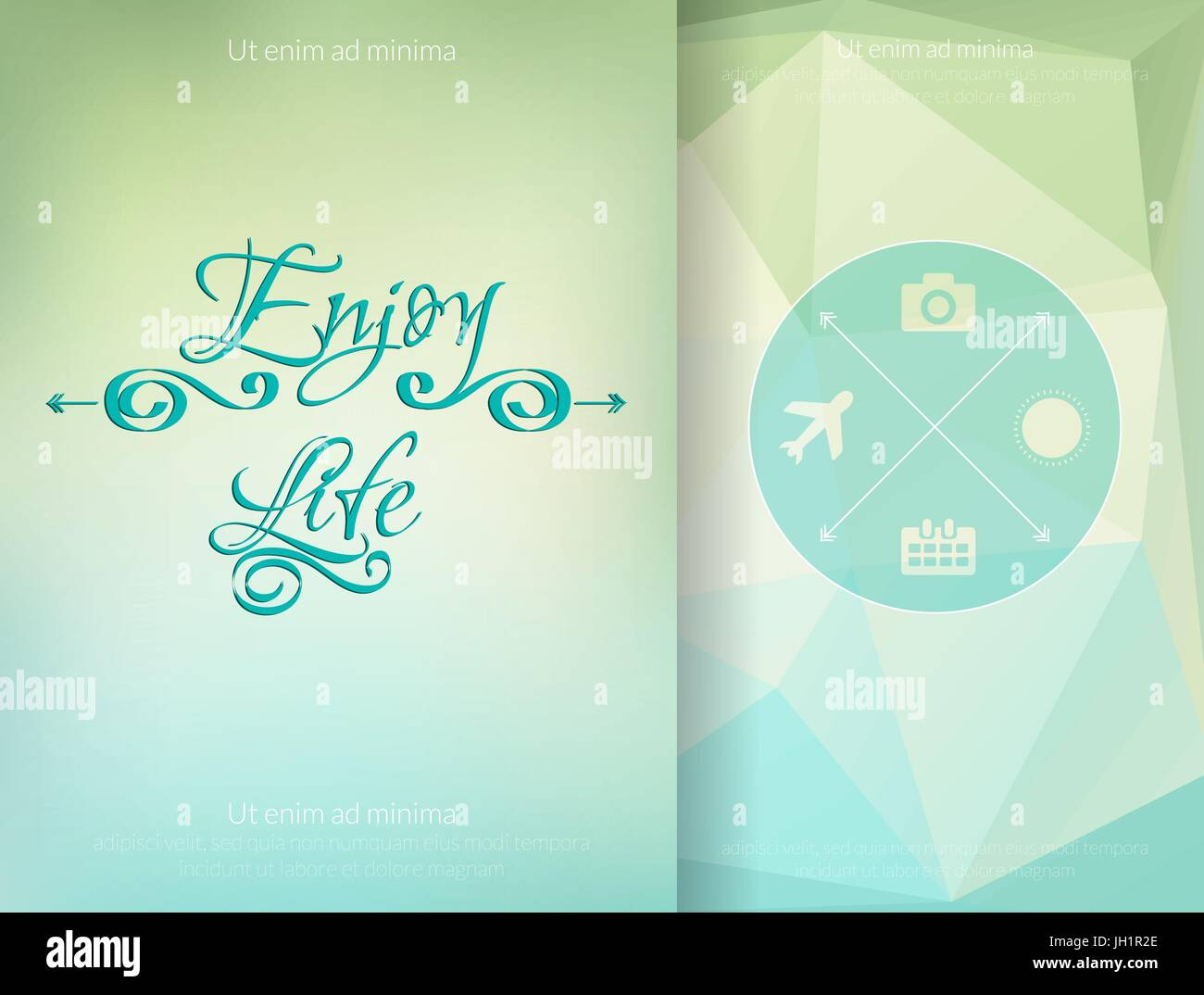 Triangle and blured abstract background and lettering Enjoy your life. Vector geometrical pattern - Stock Image
