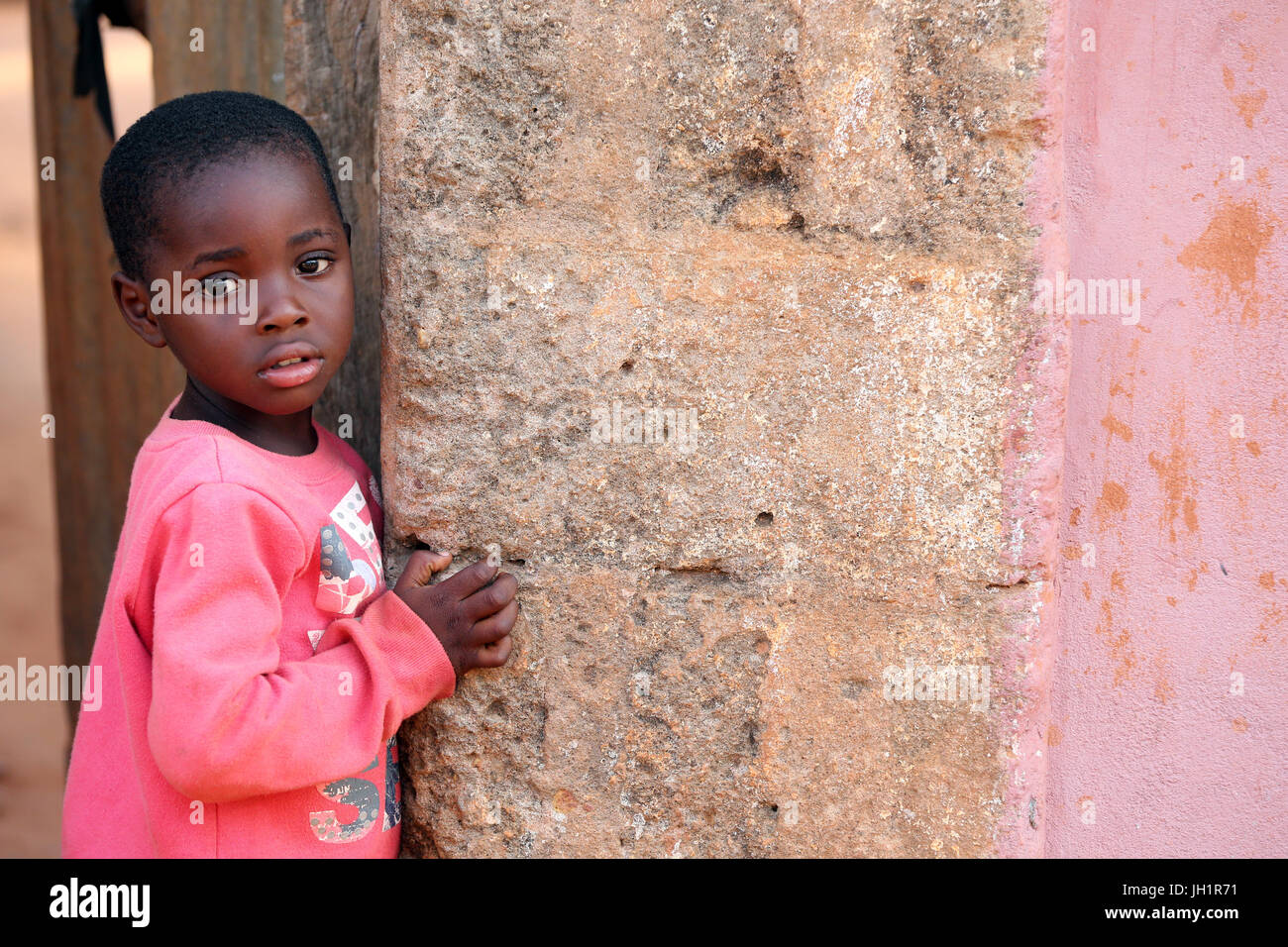 young african boy in a village.  Togoville. Togo. Stock Photo