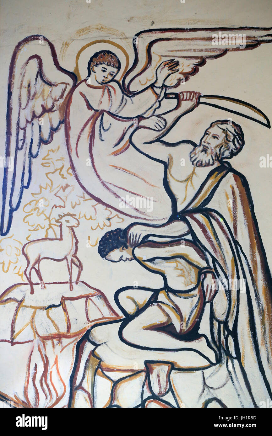 Lome Sacred Heart Cathedral. Abraham. Sacrifice of Isaac. Painting.  Lome. Togo. - Stock Image