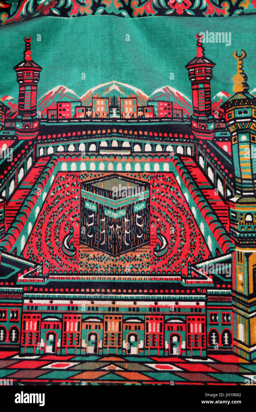 Prayer mat with Mecca motif. Thailand. - Stock Image