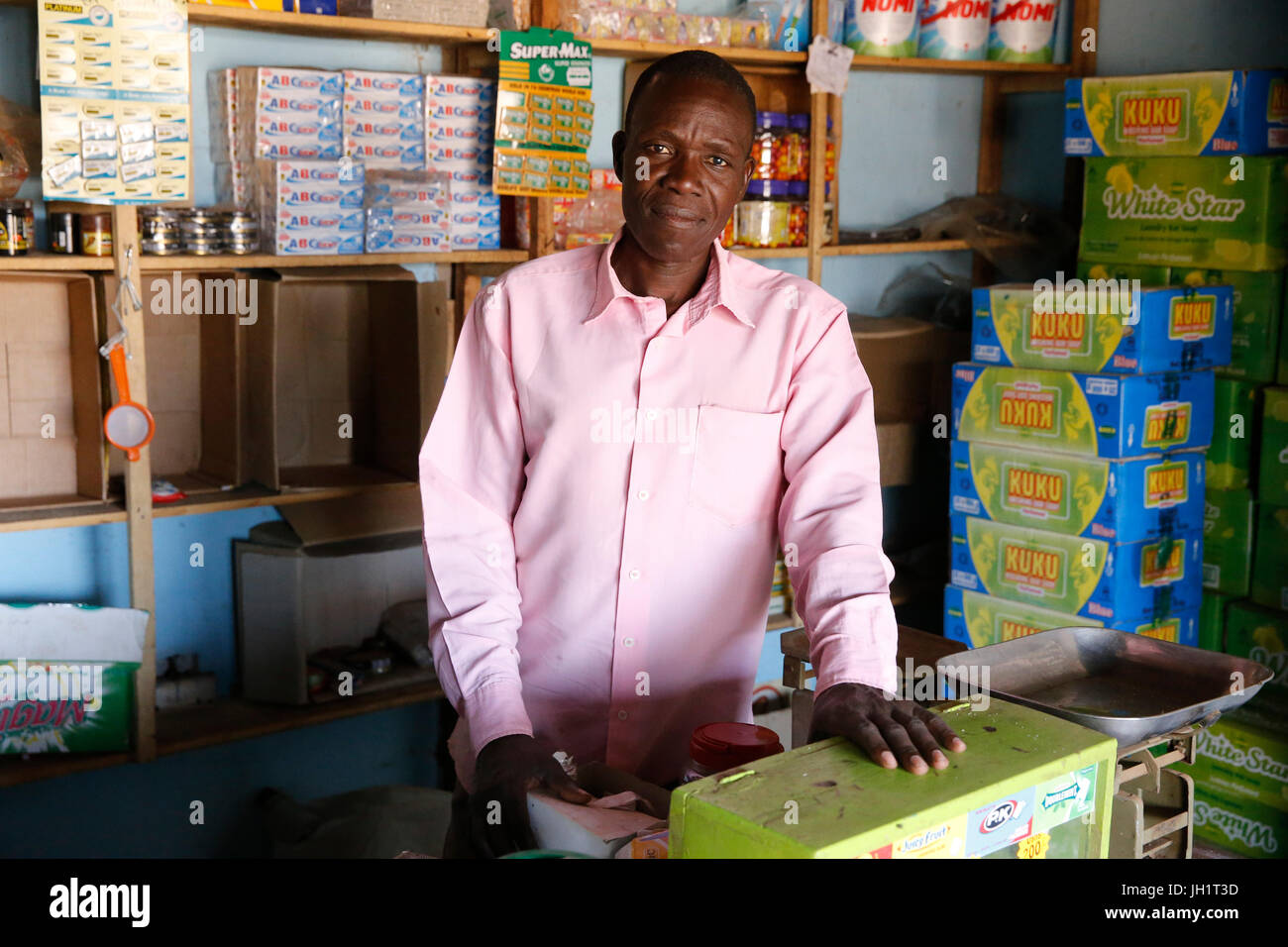 Uganda Microfinance Foundation client Genesis Pacutho, who received 4 loans from UMF to start and improve businesses. - Stock Image