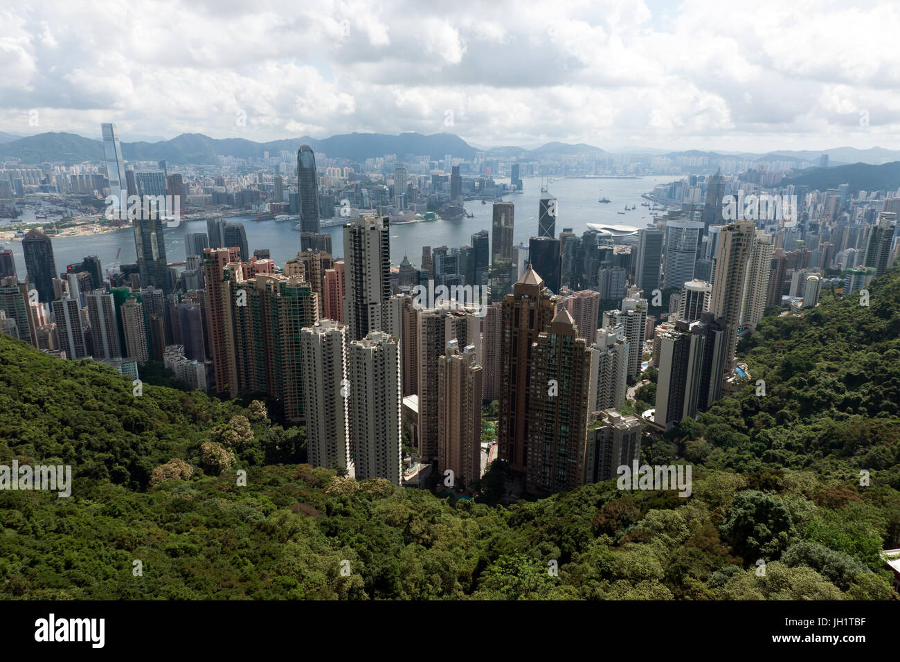 Aerial view of Hong Kong from the viewing terrace of Peak Tower below the summit of Victoria Peak - Stock Image