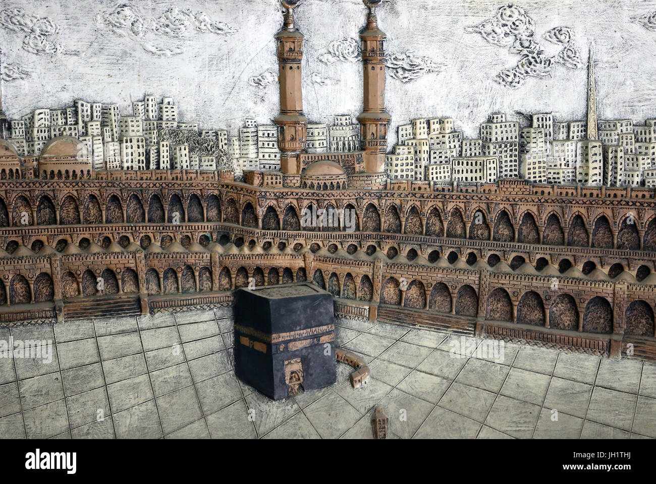 Holy Kaaba in Mecca Saudi Arabia. Vintage engraved illustration. Ho Chi Minh City. Vietnam. - Stock Image