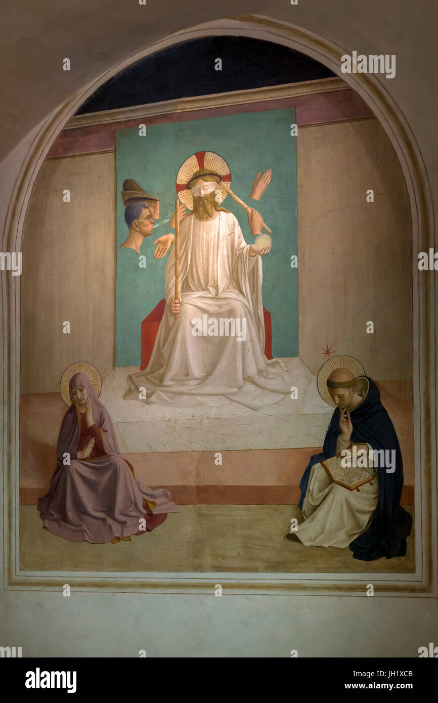 Mocking of Christ, with Virgin and Saint Dominic, by Fra Beato Angelico, 1440-42, Cell 7, Convent of San Marco, - Stock Image