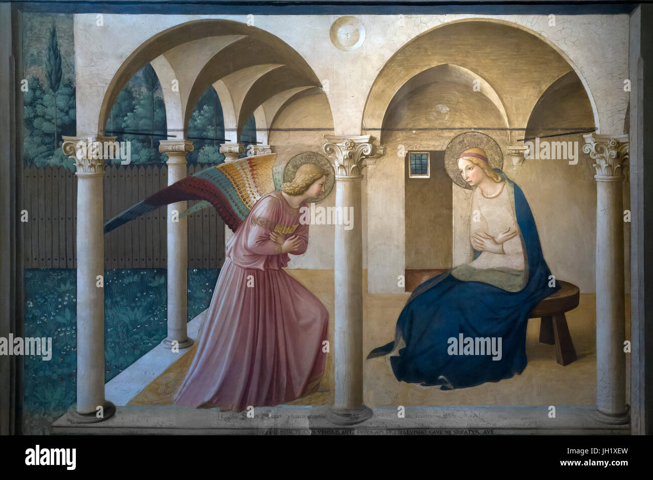 Annunciation, by Fra Beato Angelico, 1438-1445, Convent of San Marco, Florence, Tuscany, Italy, Europe - Stock Image