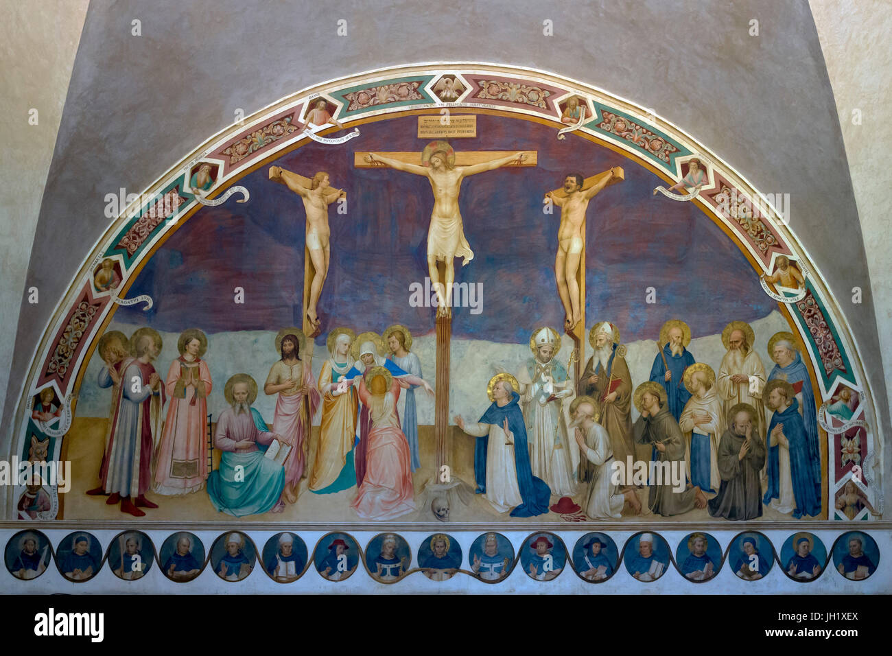 Crucifixion with Saints, by Fra Beato Angelico, 1441-1442, Convent of San Marco, Florence, Tuscany, Italy, Europe - Stock Image