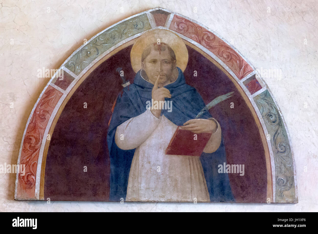 St Peter Martyr Asking for Silence, by Fra Beato Angelico, circa 1441-1443, Convent of San Marco, Florence, Tuscany, - Stock Image