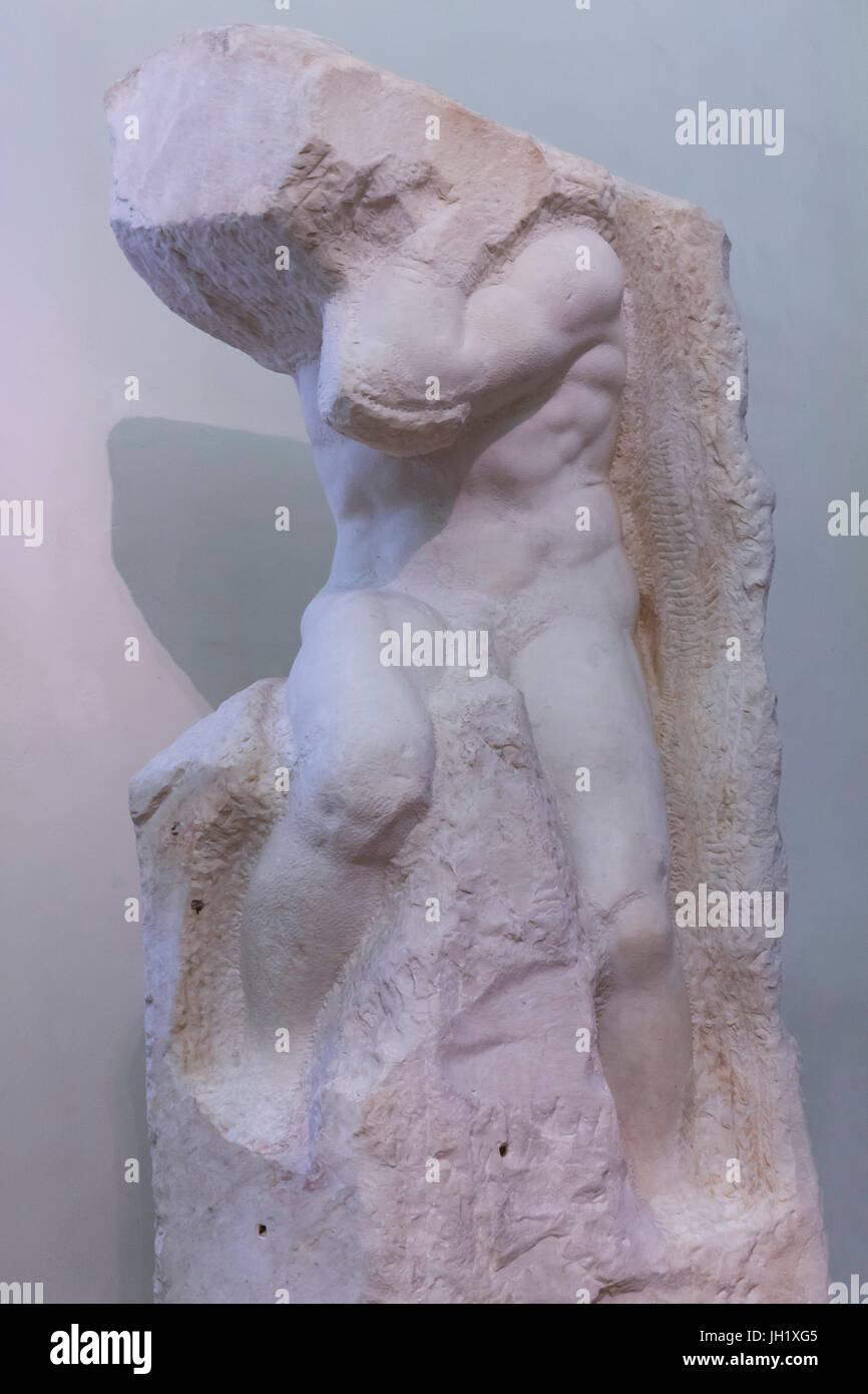 Marble Sculpture of Atlas, by Michelangelo,    Accademia Gallery, Florence, Tuscany, Italy, Europe Stock Photo