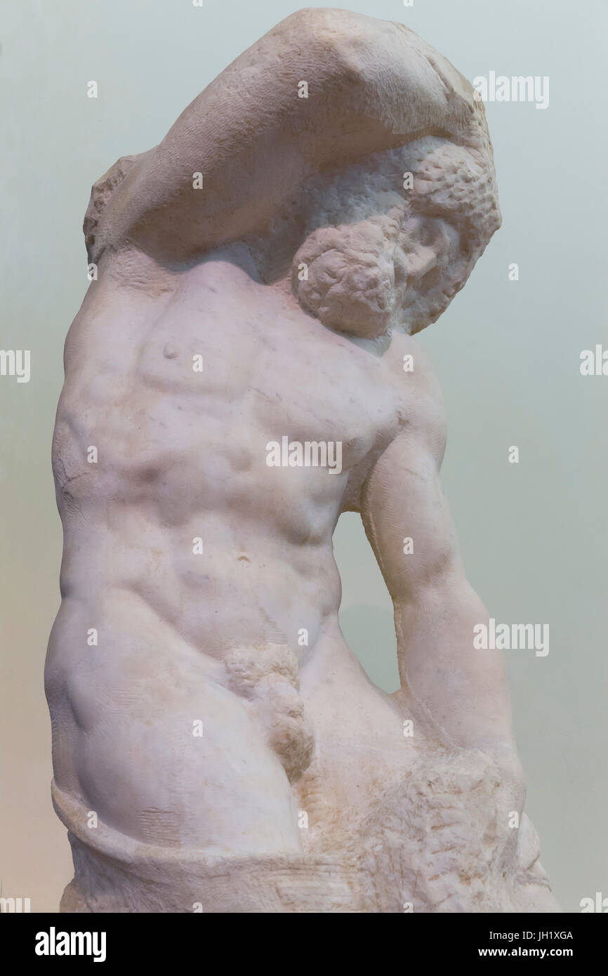 Marble Sculpture of Bearded Slave, by Michelangelo, Accademia Gallery, Florence, Tuscany, Italy, Europe Stock Photo