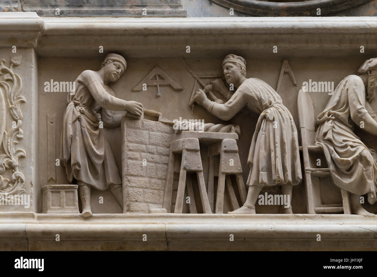 Orsanmichele wall carvings, Guild of Carpenters,  Florence, Italy,  Europe - Stock Image