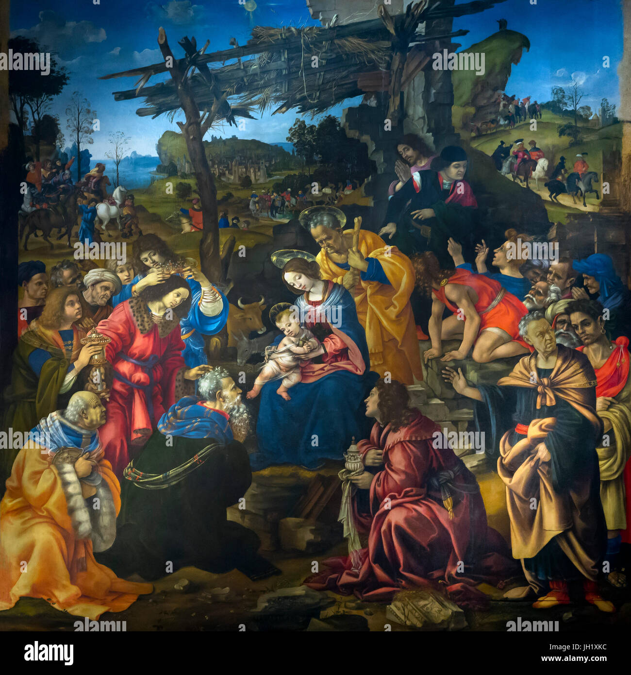 Adoration of the Magi, by Filippino Lippi, 1496, Uffizi Gallery, Florence,  Tuscany, Italy, Europe
