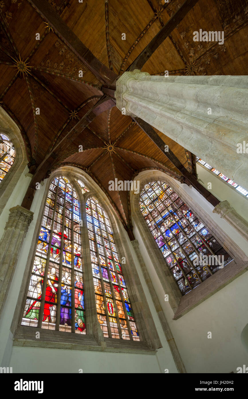 OLD CHURCH OR DE OUDE KERK, AMSTERDAM, THE NETHERLANDS - JULI 7, 2017: Famous stained glass windows in the Maria - Stock Image