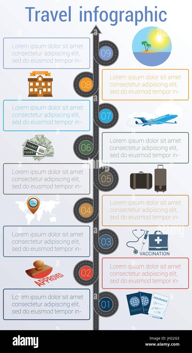 Tourism and travel concept infographic  Template 9 positions