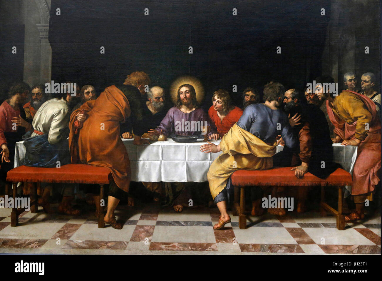 Louvre museum. Frans II Pourbus, The Last Supper. 1618. - Stock Image