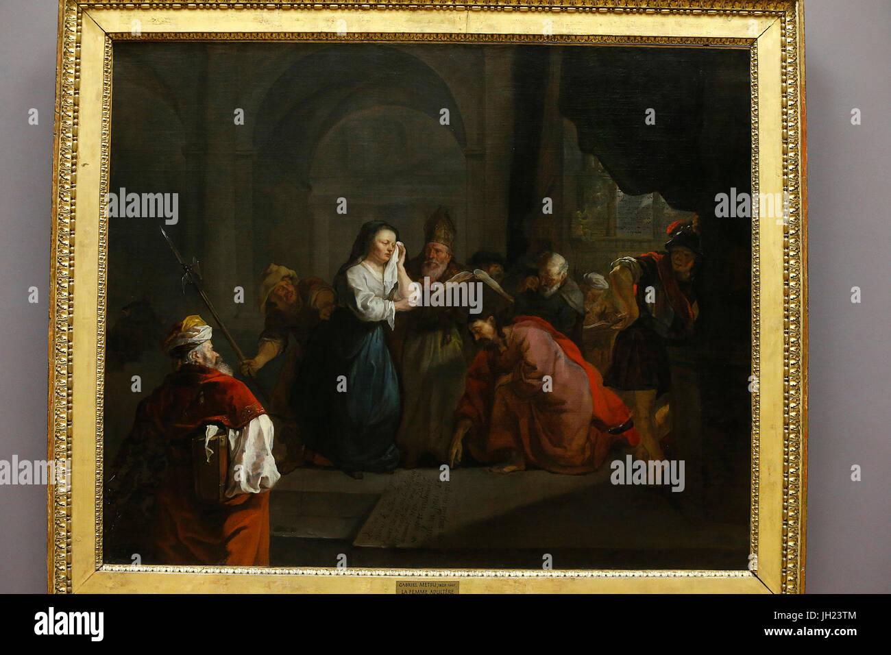 Louvre museum. Jesus defending the adultress. Gabriel Metsu. 1653. France. France. Stock Photo