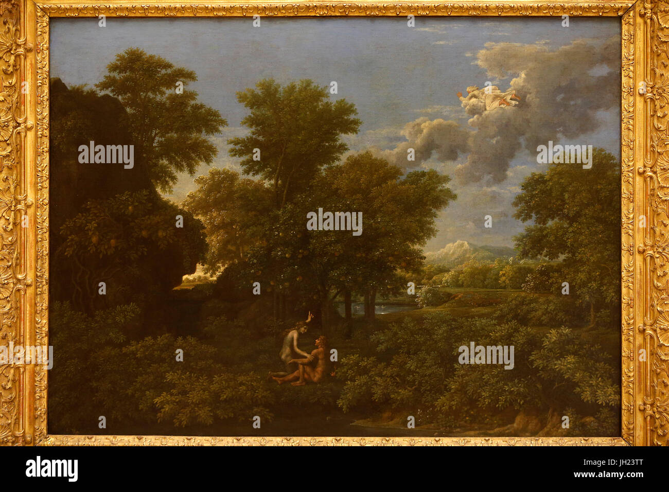 Louvre museum. Spring or Heaven on earth. Nicolas Poussin. 1660-1664. France. France. - Stock Image