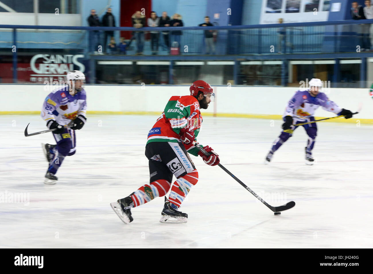 Ice Hockey match.  Players in action. France. - Stock Image