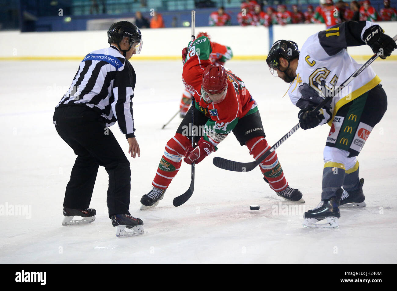 Ice Hockey match. Face off.  Players in action. France. - Stock Image